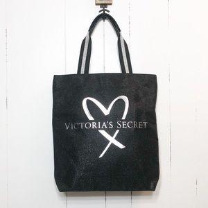 Victoria's Secret Black Sparkle Canvas Tote NWOT